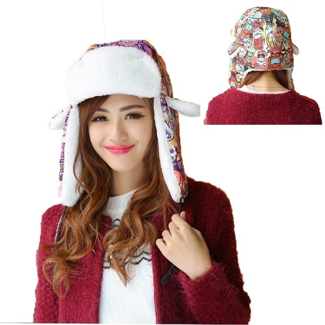 2016 Fashion Men Women New Bomber Hats Snowflakes Printing Winter Cap Thicken Warm Russian Hat Quality Fur Winter Hats Cotton