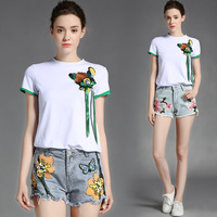 Summer New Female Light Ripe Embroidery Stereo Fawn Coat Short Sleeve T Shirt The Plum Blossom