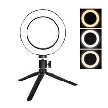 Photo Studio LED Ring Light 6 16cm 3200-5600K 64 LEDs Selfie Ring Lamp Photographic Lighting with Table Tripod tr 578l каладиум