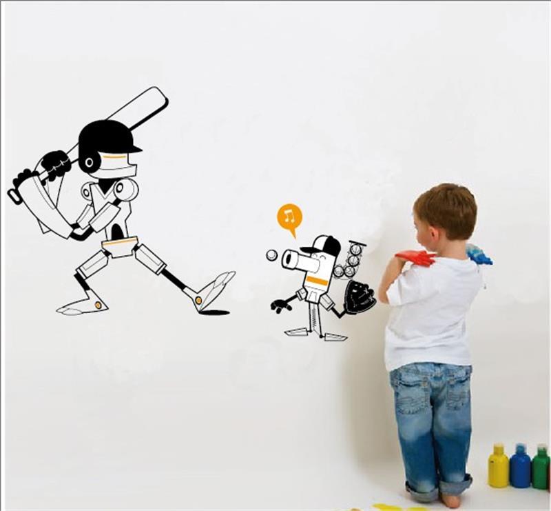 cadeau de nol 8446 cm de bande dessine robot de jouer au baseball stickers muraux enfants chambre dcor garon chambres dcor - Affiche Garcon Robot