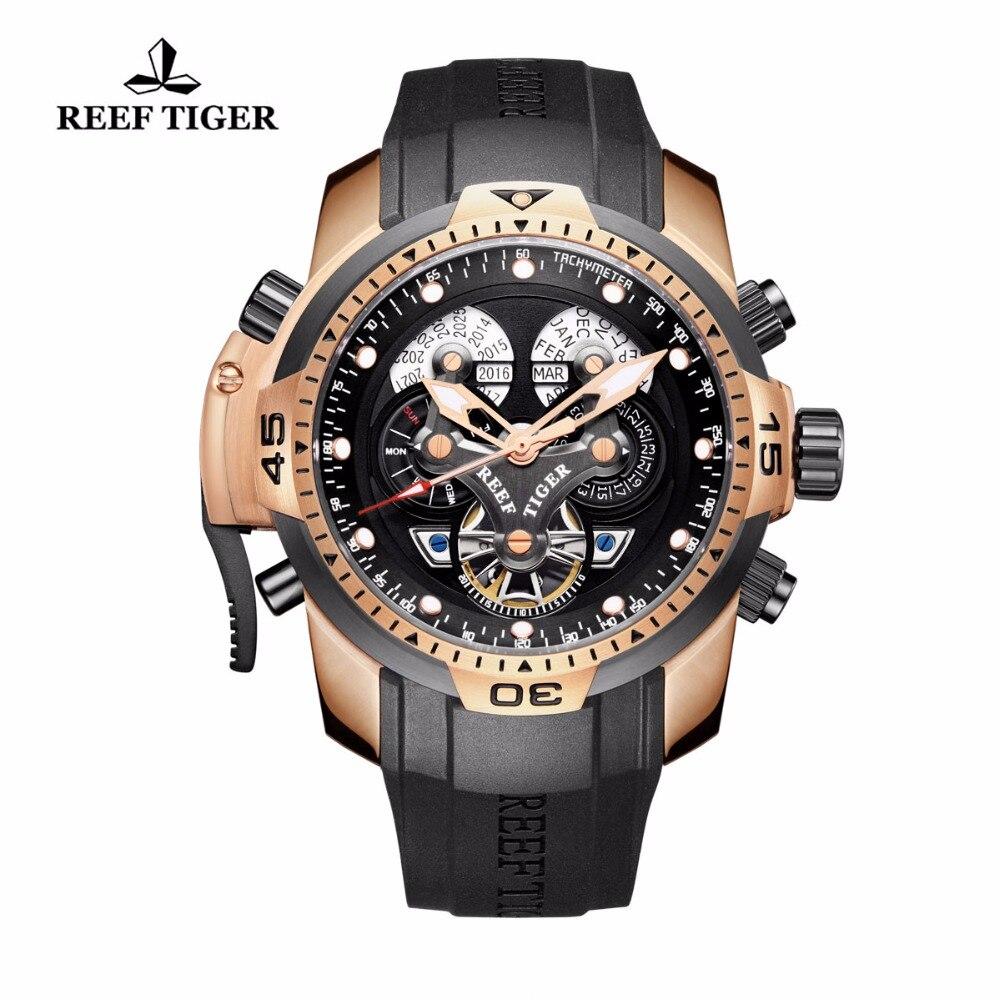 Récif Tigre/RT Designer Montres pour Hommes Grand Cadran Montre Compliquée avec Calendrier Perpétuel Bracelet En Caoutchouc Montre RGA3503