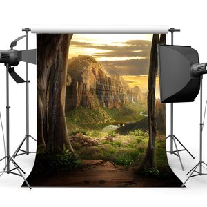 Image 1 - Bajki tło marzycielski kaskada tła kamienie zielona trawa łąka świętego światła Fantasy fotografia tło