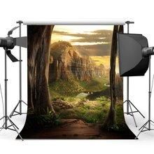 Cascata Pedras Rock Grama Verde Prado Backdrops Cenário de conto de fadas Sonho Santo Luzes Fantasia Fotografia Fundo