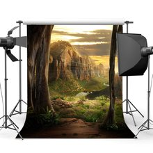 Fairytale רקע חלומי מפל תפאורות רוק אבנים ירוק דשא אחו קדוש אורות פנטזיה צילום רקע