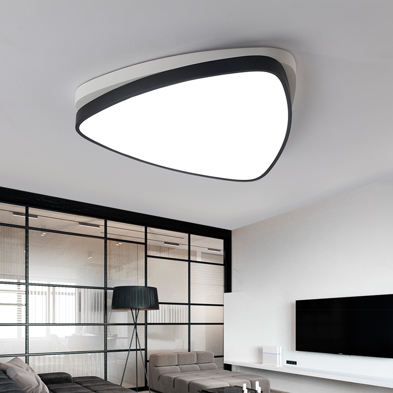 Moder led Ceiling Lamp Acrylic Bedroom Ceiling Lights Fixtures White Black Avize Bedroom Living Room Triangle Plafondlamp|Ceiling Lights| |  -