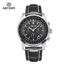 MEGIR Noir montre Top Marque De Luxe Chronographe 6 Mains 24 Heures Fonction Hommes Populaires Sport Montres Relogio Masculino 2009