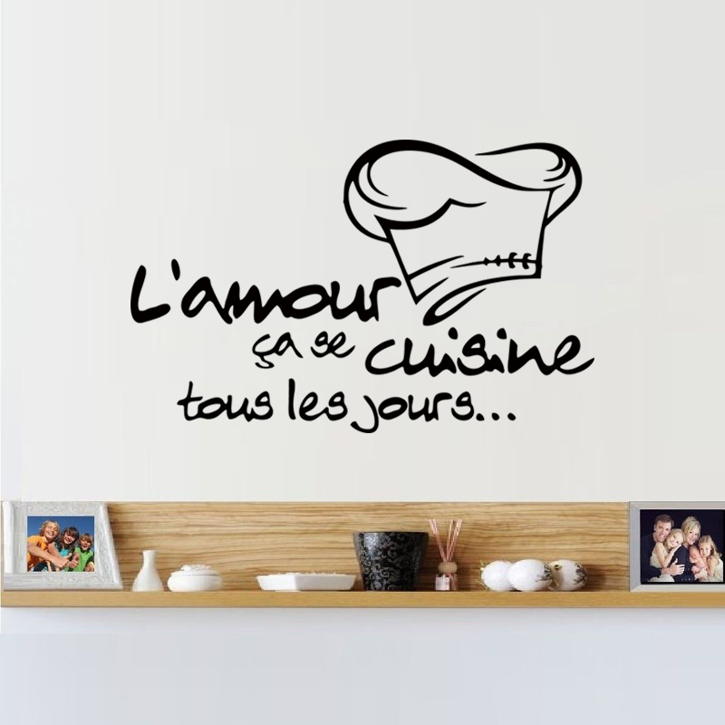 cuisine french wall sticker vinyl decal home decor kitchen tile stickers artisitc wall stickers. Black Bedroom Furniture Sets. Home Design Ideas