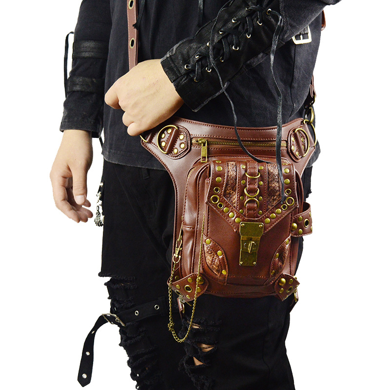 все цены на New Style Cool Punk Leather Waist Bag Retro Steampunk Bags Skull PU Leather Leg Bags Brown Rivet Crossbody Bag Phone Case Holder