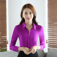 2017 Fashion Women Summer Purple White V Neck Shirt Long Sleeve Elegant Blouse XXXL Office Female