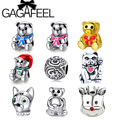 GAGAFEEL Unique Diy Animal Bear Lucky Cat Dog Beads Charms Fit Pandora Bracelet European Style DIY Making Jewelry