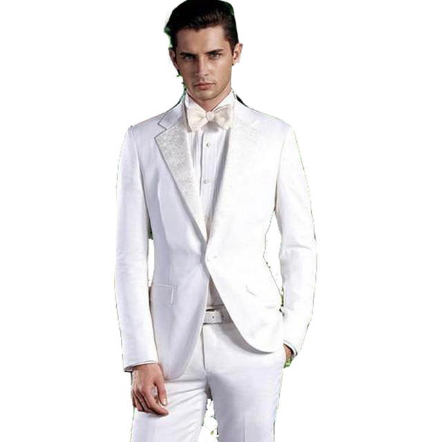 Latest Coat Pant Designs Men Suit Grooms Wear White Wedding Tuxedos For One Button Esmoquin
