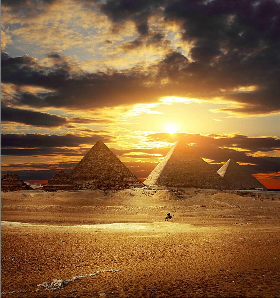 Sunset Clouds Pharaoh Khufu Desert Pyramids Camels Backgrounds Vinyl cloth High quality Computer printed wall photo backdrop