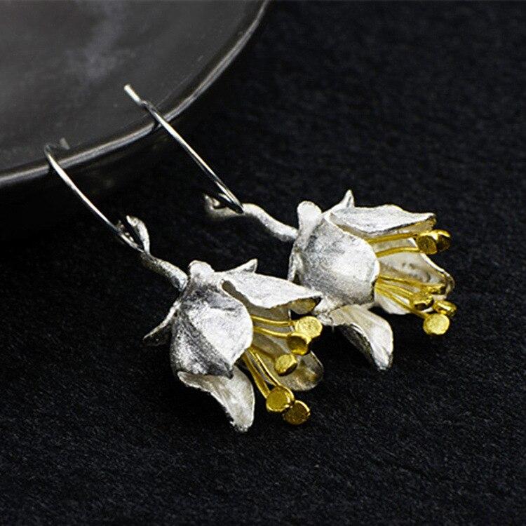 Hot sale Bohemia Flower Dangle hook Earrings Pure 925 Sterling Silver Fine Jewelry For Women faux crystal flower hook earrings