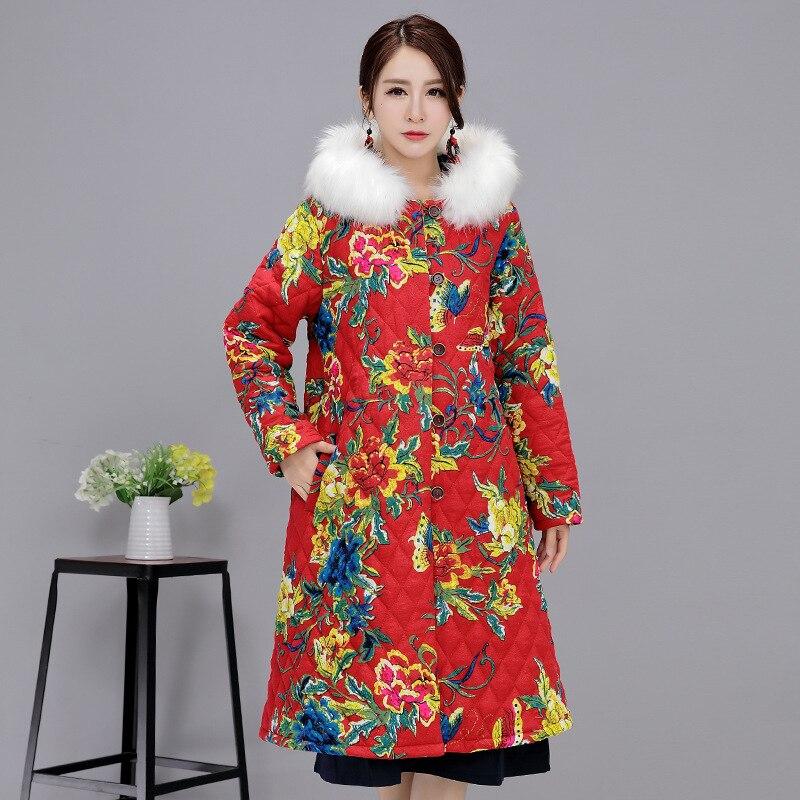 New Plus Size Autumn Winter Women Casual Outerwear National Print Long Sleeve Fleece Warm Long Coat Jackets With Fur Hoodies