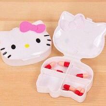 Милый розовый лук hello kitty коробка для таблеток Органайзер Медицина Витамин хранения путешествия AA-9