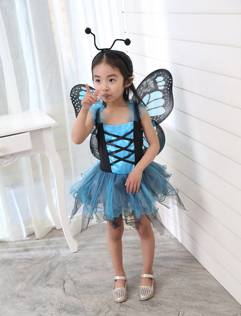 Child Flower Fairy Tinker Bell Costume Kidu0027s Girlu0027s Blue Butterfly Princess Childrenu0027s Day Party Fancy Dress  sc 1 st  AliExpress.com & Child Flower Fairy Tinker Bell Costume Kidu0027s Girlu0027s Blue Butterfly ...