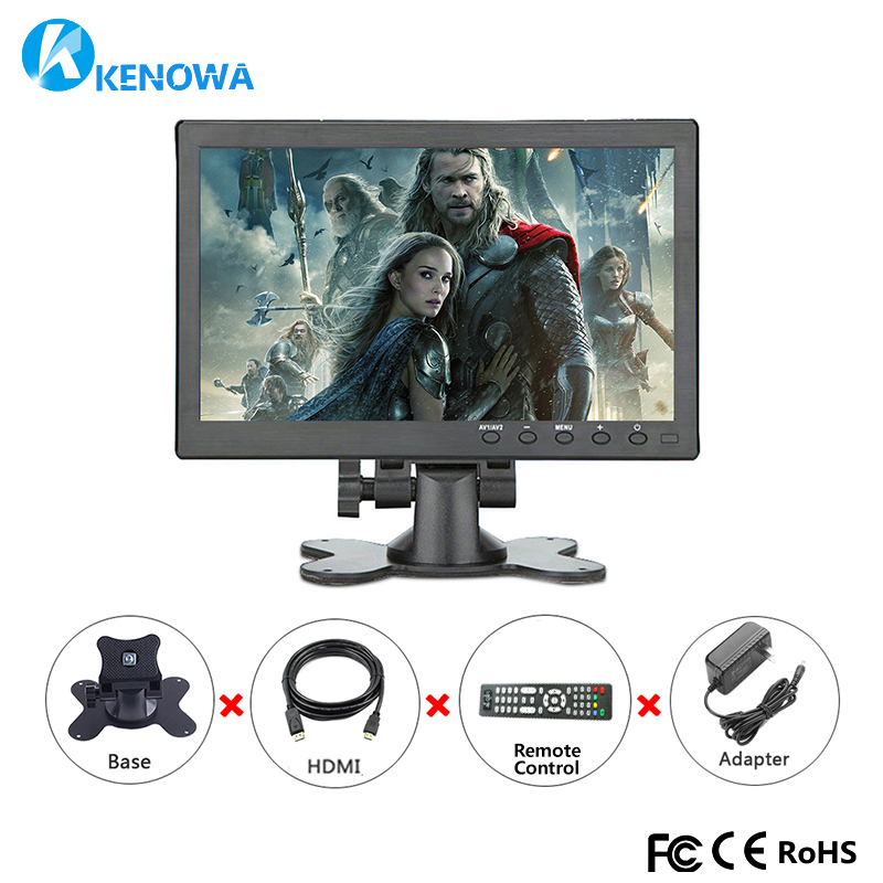 10.1 LCD HD 1366*768 IPS Monitor Computer PC Display Color Screen 2 Channel Video In Security Monitor With Speaker HDMI VGA USB 10 1 inch ips touchscreen monitor hd 1280x800 portable color display screen with av vga hdmi usb for pc security cctv camera
