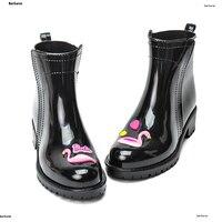 Flamingo Rain Boots Women Strawberry Pvc Slip On Waterproof Cat Heel Water Shoes Short Ankle Gummistiefel Rainboot Rubber Soft