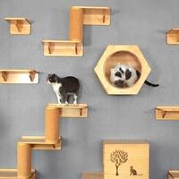 Cat climbing frame solid wood wall hanging space cat jumping platform nest hanging wall sisal pillar scratch toy kitten house