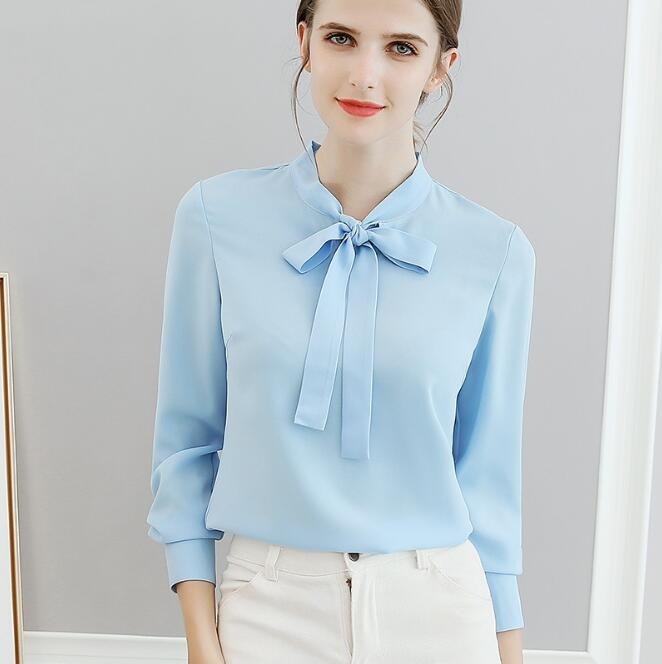 Chiffon Arco Del Manga Blusas Primavera Camisas rosado Desgaste De Gasa Otoño 2018 blanco La Larga Oficina Blusa Mujer Las Azul Trabajo 518wqBwx6