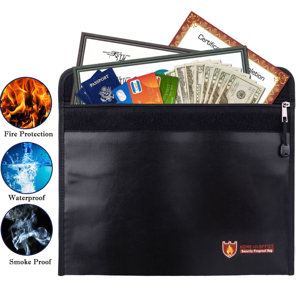 Fireproof Money Bag Fire Water Resistant Envelope Pouch For Home Safe Security Zipper Closure Silicone Coated Multifunction Bag