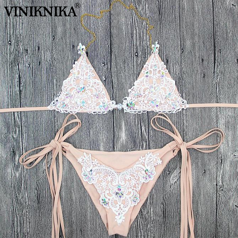 VINIKNIKA Woman Crystal Sequins Bikini Set Summer Beach Tether Solid Swimsuit High Quality Fabric Sexy Lady Low Waist Swimwear 3
