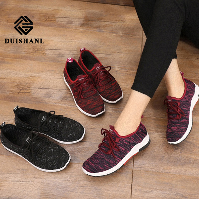 Spring and summer new  flying woven women's sports shoes single  flat shoes casual running shoes