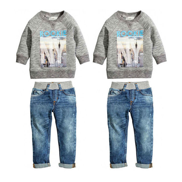 Toddler Infantil Chicos 2 unids Ropa Set Niños Otoño Invierno de manga Larga Camisa de Algodón Denim Jeans Pantalones Trajes Set