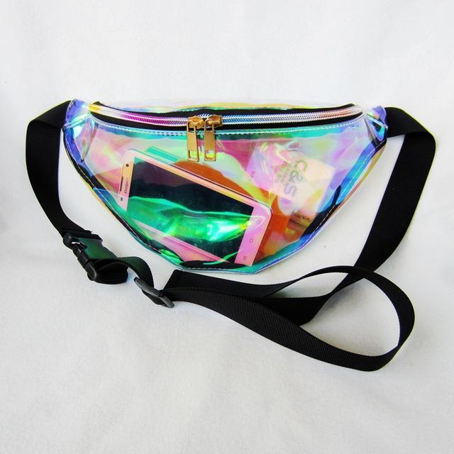Nueva Llegada de Las Mujeres Crossbody bolsa de Pecho Bolsa de Frío A Prueba de agua Color de Moda Bolso de La Cintura Transparente Láser HBC89