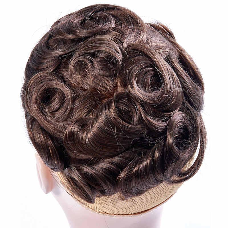 Peluquín Ali Queen, sistemas de repuesto de cabello, encaje francés completo con piel fina transparente, peluquín indio Remy, peluca de pelo para hombres