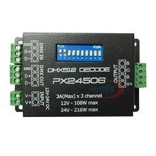 цена на PX24506 DMX 512 Decoder Driver 9A DMX 512 Amplifier 12V 24V led DMX512 controller for RGB LED strip Lights