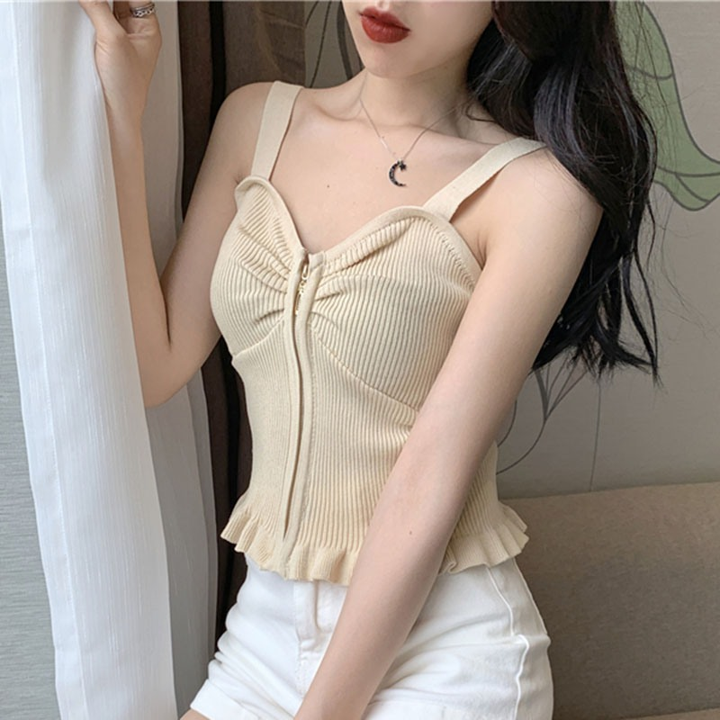 Summer Fashion Women Tank Tops Sexy Sleeveless Ruffles Top Women Zippered Knitted Slim Casual Bottoming Shirt Tank Tops 2019 H in Tank Tops from Women 39 s Clothing