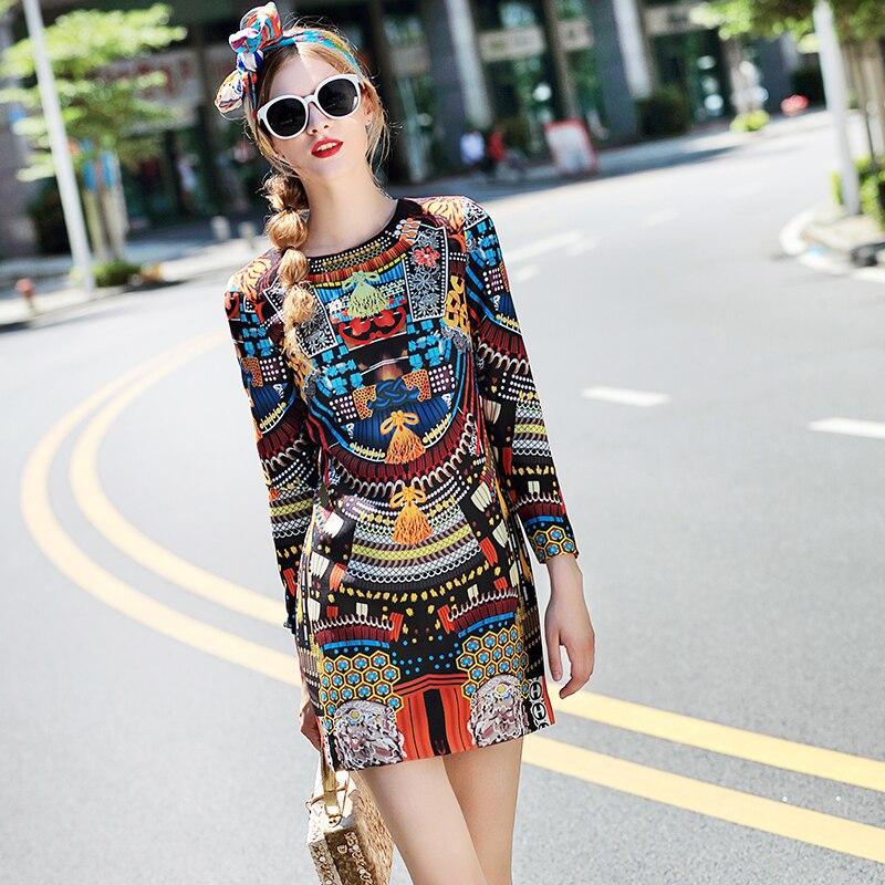 2019 Spring Dresses For Women Brand Fashion Designer Runway Dresses Long Sleeve Vintage Print Slim Short Casual Dress Vestidos