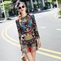 2016 Women Autumn Dresses High Quality Brand Fashion Runway Dresses Long Sleeve Vintage Print Plus Size Slim Casual Dress Female