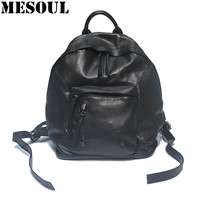 Women Men Real Leather Laptop Backpack Fashion Black Large Capacity Travel Shoulder Bag Brand Bagpack School
