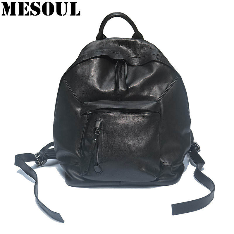 Women/Men Real Leather Laptop Backpack Fashion Black Large Capacity Travel Shoulder Bag Brand Bagpack School Bags For Teenagers цена и фото