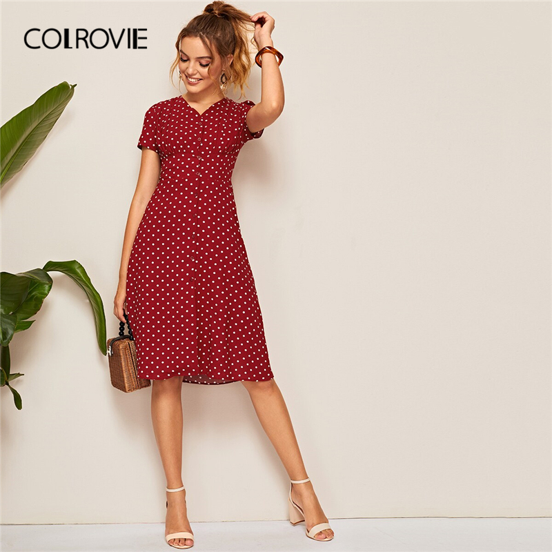 COLROVIE Burgundy V Neck Polka Dot Button Shirred Waist Classy Boho Dress Women 2019 Summer A Line Holiday Midi Dresses