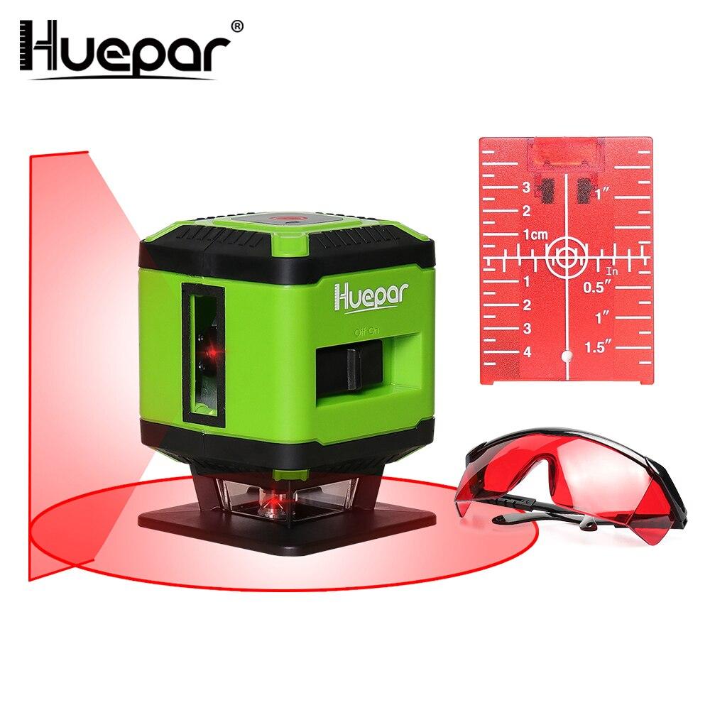 Huepar Red Beam Laser Linea Trasversale Livello del Laser per le Mattonelle Pavimento Posa Piazza Livellamento + Occhiali Laser Rosso + Rosso Laser Bersaglio Piastra