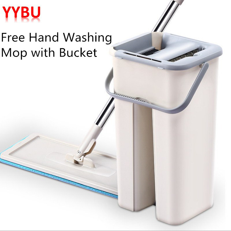YYBU Automatic Squeeze Floor Mop with Wringing 10pcs Fiber Mop Cloth Floors Spray Flat Spin Mop
