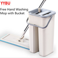 YYBU Automatic Squeeze Floor Mop with Wringing 10pcs Fiber Mop Cloth Floors Spray Flat Spin Mop Home Kitchen Floor Cleaner Tools