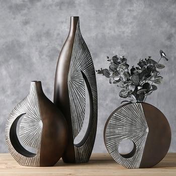Creative Nordic Dried Flower Vase Decoration European Living Room Flower Arrangement Art Decoration Home Decoration Leather Bag