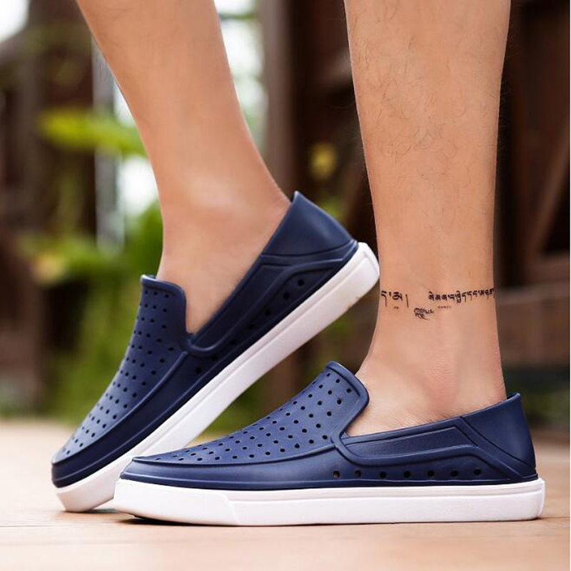 Men Sandals Beach-Shoes Jelly Garden Breathable Summer Flat Cool Soft-Bottom-Hole