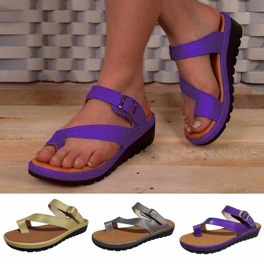 MUQGEW/Женская обувь на платформе; босоножки на толстой подошве; женская обувь с ремнем и пряжкой; Босоножки с открытым носком; летняя пляжная обувь фиолетового цвета
