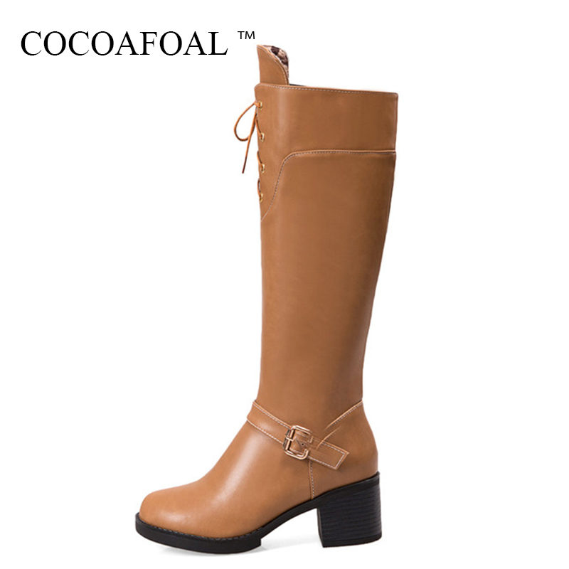 COCOAFOAL Women's Black Knee High Boots Winter Plus Size 43 High Heeled Shoes Sexy Yellow Knee High Boots Red Motorcycle Boots 20cm pole dancing sexy ultra high knee high boots with pure color sexy dancer high heeled lap dancing shoes