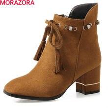 fbca91987d MORAZORA dedo do pé quadrado sapatos de salto alto botas de tornozelo  strass beading sólidos botas de moda feminina primavera ou.