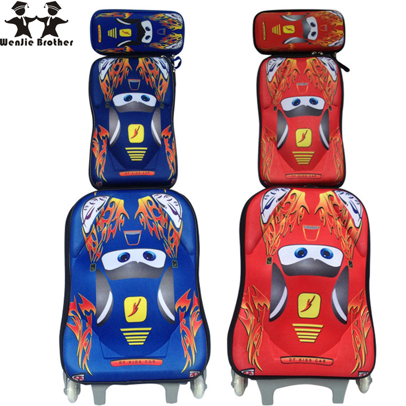 wenjie brother EVA CARS 3 wheeled backpack trolley luggage cars backpack children luggage set with backpack for boys cars for children