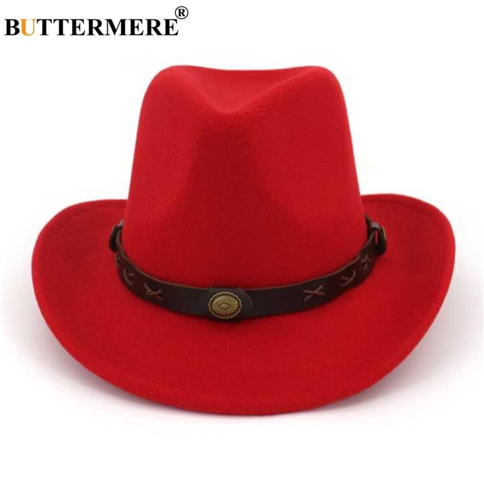 BUTTERMERE Kameel Hoed Cowboy Etnische Stijl Wollen Western Cowboy Hoed Jazz Mens Top Hoeden Vintage Lente Herfst Vrouwen Fedora