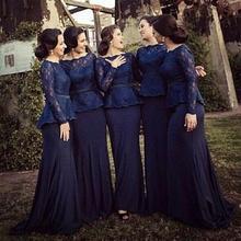 Hot 2017 Lace Bridesmaid Dresses Bateau Long Sleeves Mermaid Floor Length Navy Blue Elegant Plus Size