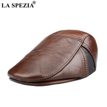 LA SPEZIA Leather Beret Hat Mens Brown Flat Caps Male Real Cowhide Adjustable Driving Vintage Winter Warm Newsboy