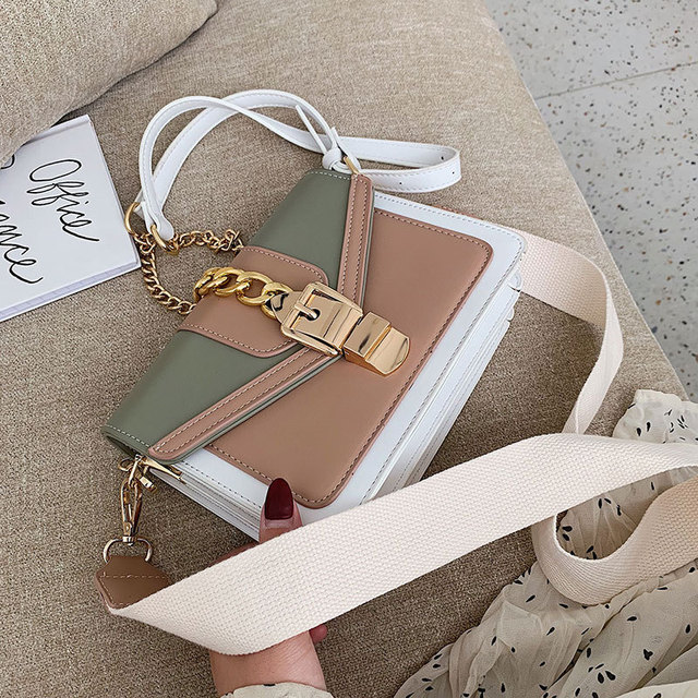 Contrast Color Leather Crossbody Bags  3